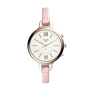 Smartwatch Híbrido Fossil Q Annette de Mujer, Caja de acero inoxidable en color oro rosa con correa de piel rosa, Compatible con Android e iOS
