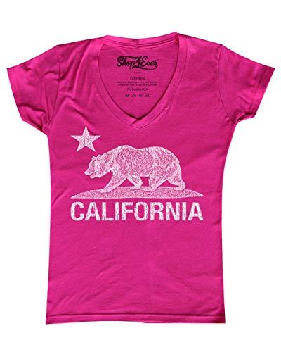 (Shop4Ever California Distressed White Bear Women's V-Neck T-Shirt Cali Shirts Small Pink 0)