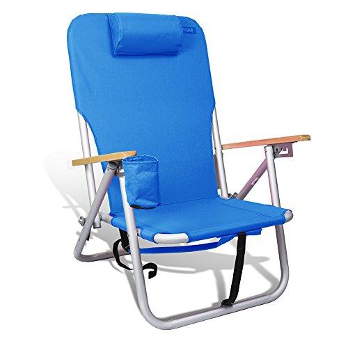 (copa Beach & Camping Lightweight Aluminum Outdoor Sturdy Backpack Chair 4 Position (Light Blue))
