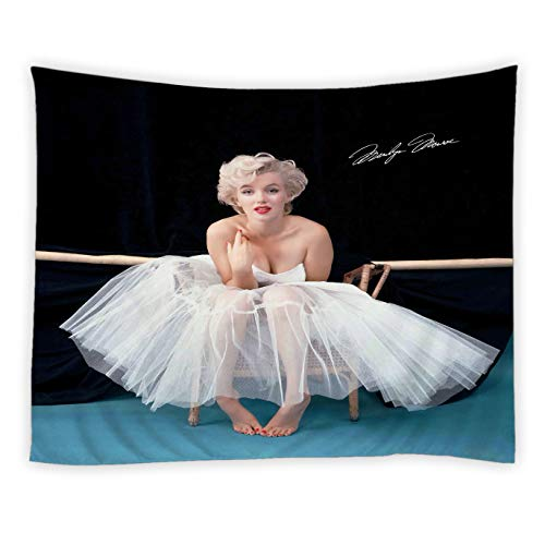 - RAYLONZE Sexy Marilyn Monroe Tapestry Famous Movie Star Portrait Wall Hanging White Dress Marilyn Monroe Modern Home Decor for Bedroom Dorm Living Room Polyester Tapestries 60x51 Inch