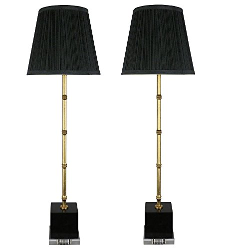 Black Gold Buffet Lamp - Urbanest Set of 2 Serrino Buffet Lamps, Gold with Black Marble, 29-inch Tall