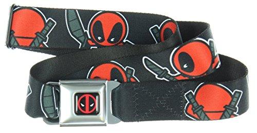Buckle Down Big Boys Kawaii Deadpool Turning Poses Black Seatbelt Belt, multi, Regular