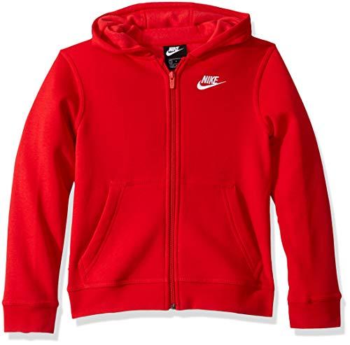 Nike Boy's NSW Club Full Zip Hoodie, University Red/University Red, Medium