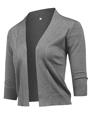 - URRU Women's Classic 3/4 Sleeve Open Front Cropped Bolero Cardigan Grey M