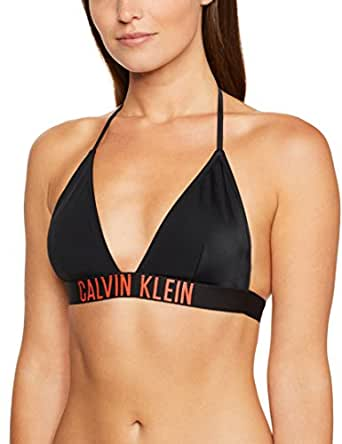 Calvin Klein Women's Intense Power Triangle Bikini Top Swimwear, Black, X-Small