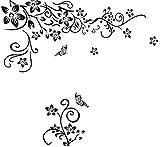 Wall Tattoo Tendril Ornament Flower Living Room Tv Wall Bedroom Flower Butterfly Sticker/BR TV