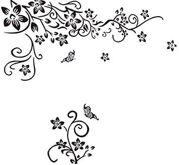 EmmiJules Wandtattoo Wohnzimmer Blumenranke mit Schmetterling ...