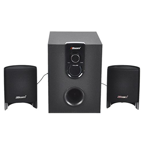2BOOM Stylish multimedia speakers, AC Powered, 2.1 Channel with Sub Woofer Black