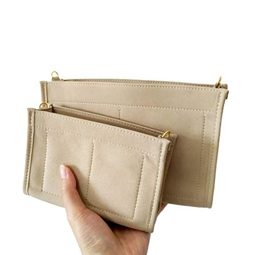 (Purse Organizer Insert Fit LV Toiletry Pouch 19 Handbag Shaper Premium Felt with Gold Buckles, Light Khaki (LV Toiletry Pouch 19, Light Khaki))