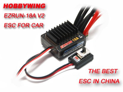 bywing EZRUN 18A V2 2-3S Lipo Speed Controller Brushless ESC BEC Output 6V/1.5A for 1/16 1/18 RC Car ()