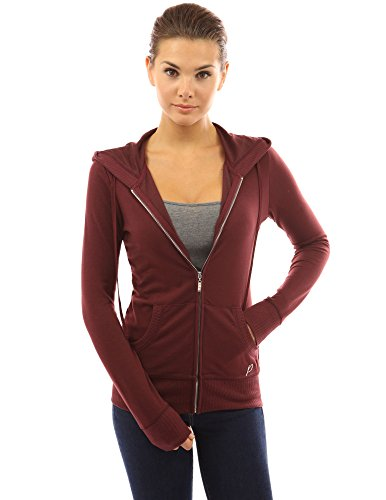 PattyBoutik Women's Hoodie Pocket Zip Up Jacket (Burgundy S)