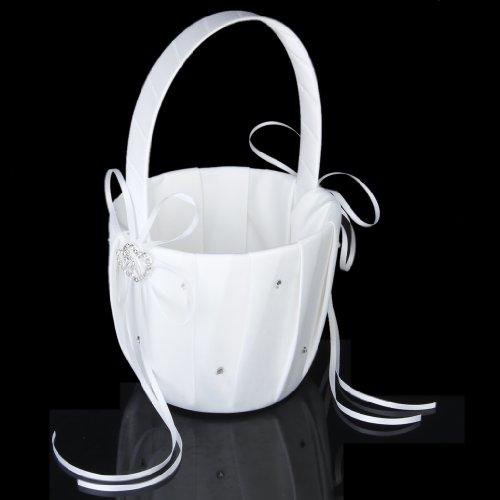 Flower Girl Basket Kit : Double heart wedding flower girl basket rhinestone decor