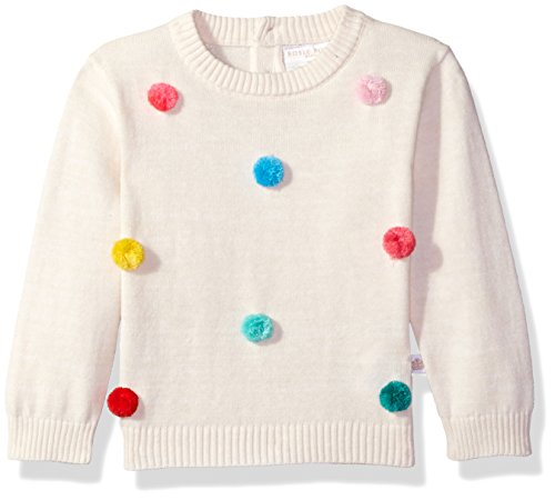 Rosie Pope Baby Girls' Pom Sweater, White, 18M