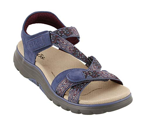 Taos Women's Zen Blue/Bordeaux Leather Sandal 6 B(M) ()