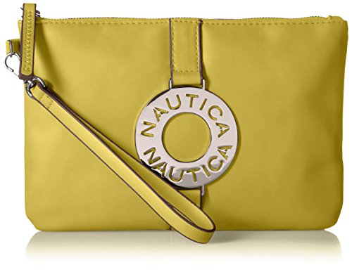 Nautica Ladies That Sail Flat Wristlet Wallet Clutch with Rfid Blocking Yellow Flat Wallet
