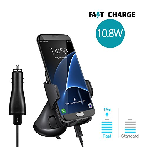 Wireless Charger Car Mount, Qi Fast Charging with Air Vent holder and bracket base, 10.8W Quick Charger by SKY CASTLE For iphone X, 8/8 Plus, Android Samsung Galaxy S8/S7 Edge/Note 5 (For Car)