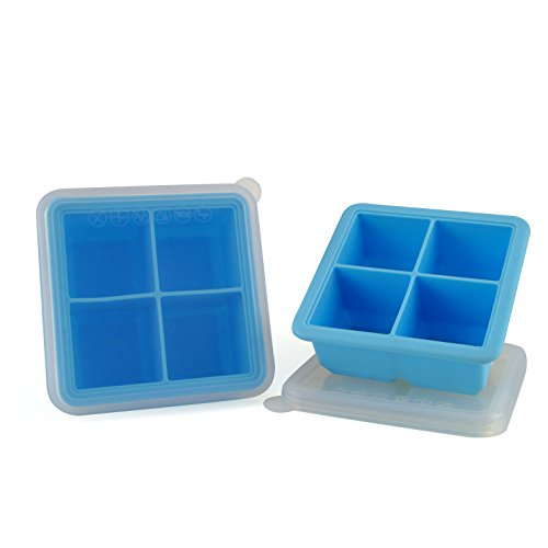 Mirenlife 2 Inch Large Food Grade Silicone Ice Cube Tray with Lid, FDA Certified Silicone Ice Cube Tray, Baby Food Storage, Pinch Test Passed, 4 Cube, Set of 2, Blue]()