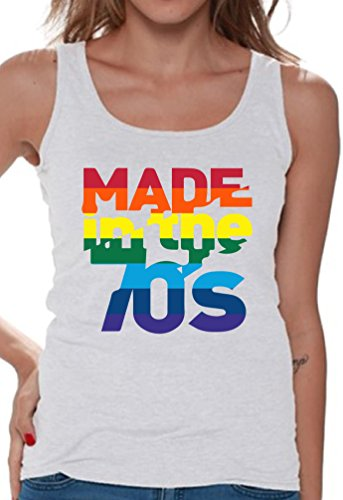 1970s Top - Awkward Styles Women's Made in The 70's Rainbow Tank Tops 70s Birthday Cool Party Idea White 2XL