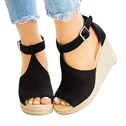 (Seraih Womens T-Strap Wedge Sandal Adorable Comfort Platform Black)