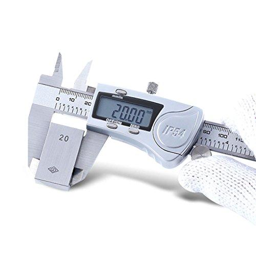 Metric Caliper Measuring Tool IP54 Digital Vernier Calliper Micrometer Set Test Inch/Metric/Fractions Conversion Extra Large LCD Screen Gauge Waterproof Stainless Steel Electronic 6
