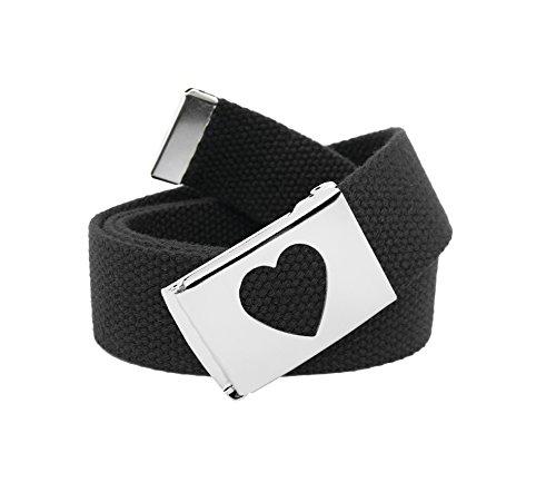 Girl's School Uniform Silver Flip Top Heart Belt Buckle with Canvas Web Belt Large Black (Canvas Belt Silver Buckle)