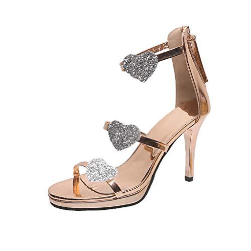 Midress Women's Stiletto High Heel Open Toe Ankle Back Zip Heart Sandals Casual Shoes Dress Party Work Dance Evening Wedding Sandals ()
