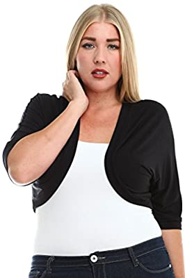 Stylzoo Women's Plus Size Premium Rayon Bolero Shrug Cover Up