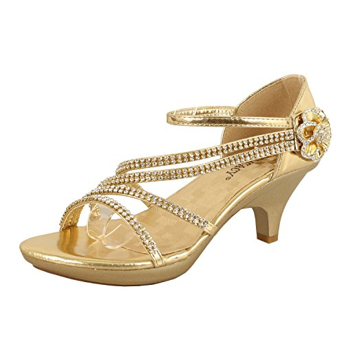 Delicacy Womens Strappy Rhinestone Dress Sandal Low Heel Shoes Heeled Sandals, 48Gold, 7.5
