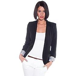 Ambiance Cuffed Sleeve One Button Boyfriend Polyester Blazer for Women Med Black