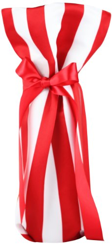 CHC-Beverly Hills PIKNIK, High End Wine/Champagne Fabric Gift Bag, Satin White-Red and Red Ribbon, One Size