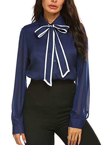 (Women Tunic Tops for Work Patchwork Blouses Chiffon Blouse with Bow Navy)