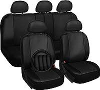 Motorup America 17PC Leather Auto Seat Cover Set - fits Select Vehicles Car Truck Van SUV - Black