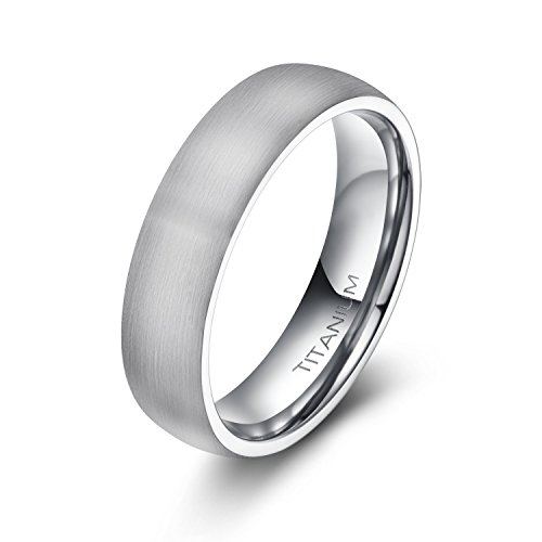 6mm Unisex Tungsten / Titanium Ring Brushed Dome Wedding Bands Comfort Fit Size 4-15 (Titanium, 11)
