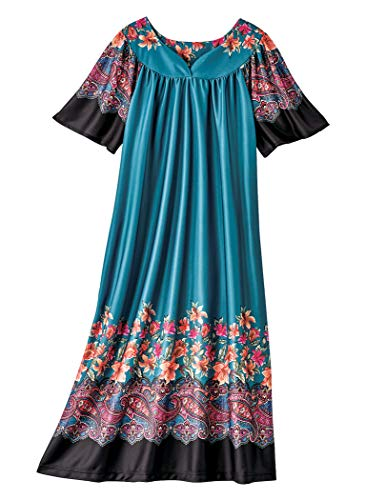 AmeriMark Lounger House Dress with Pockets for Women Muu Muu Nightgown Plus ()