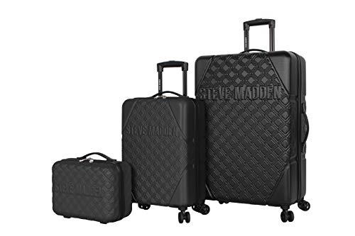 Steve Madden Karisma 3 Piece Spinner Suitcase Set Collection (One Size, Black)