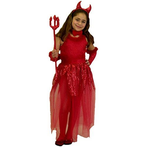 [Child's Girl's Devil Costume (Size:Large 10-12)] (Red Devil Child Costume)