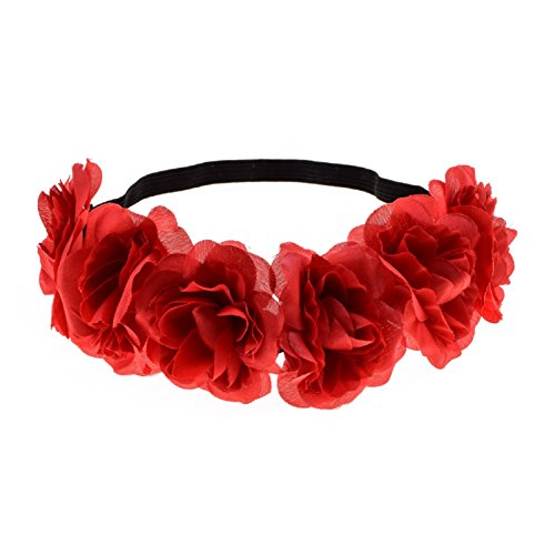 Love Sweety Rose Flower Headband Floral Crown Mexican Hair Wreath (Red)
