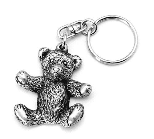 Solid Pewter Teddy Bear Keychain (Pewter Bears Teddy)