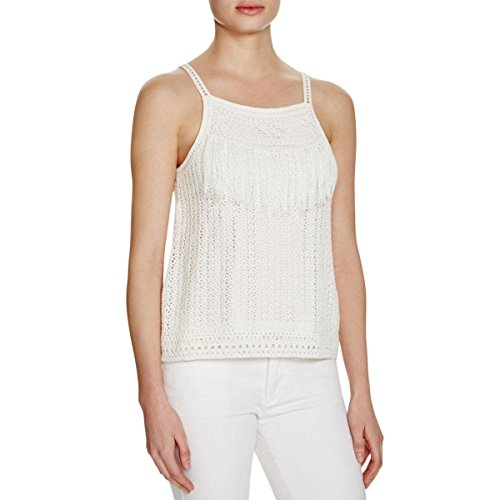 Joie Womens Olesia Crochet Fringe Casual Top White M by Joie