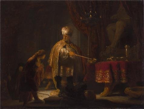 The Perfect Effect Canvas Of Oil Painting 'Daniel And Cyrus Before The Idol Bel, 1633 By Rembrandt Harmenszoon Van Rijn' ,size: 10x13 Inch / 25x33 Cm ,this High Resolution Art Decorative Prints On Canvas Is Fit For Nursery Decoration And Home Decor And Gifts