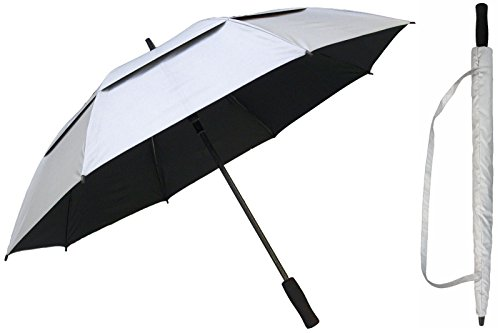 (60 inch Silver & Black Golf Umbrella - Vented Double-Canopy - Auto Open Button - Fiberglass Shaft and Frame - Windproof Stick Umbrellas)
