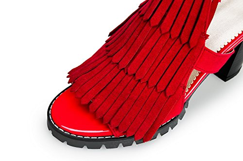 AN Womens Cold Lining Dress Solid Urethane Sandals DIU00993 Red k6yxb0