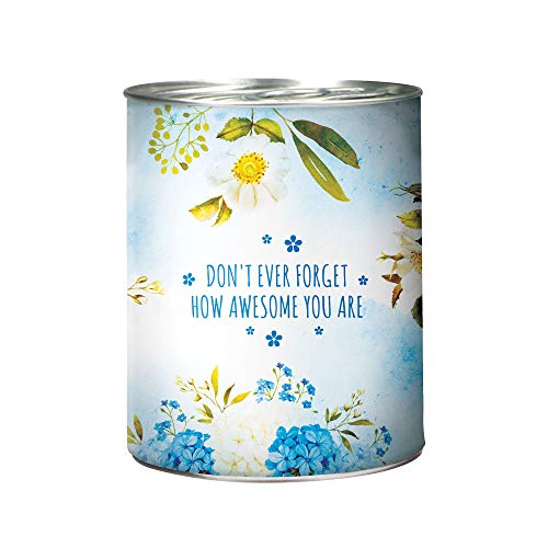 Flower in A Can Office Plant - Forget-Me-Not Seeds, Organic Soil, Pot, and Planting Instructions - Blue Wrapping with Forget-Me-Not Flowers