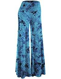 Womens Comfy Chic Solid Tie-Dye Palazzo Pants - Made in USA