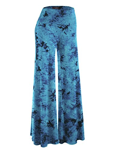 Made By Johnny WB1060 Womens Chic Tie Dye Palazzo Pants M Teal
