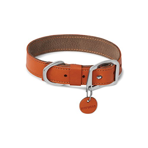 (RUFFWEAR - Timberline Durable, Water-Resistant Leather Dog Collar, Canyonland Orange, 14