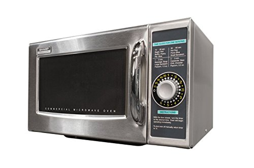 Sharp R-21LCFS Medium-Duty Commercial Microwave (Stainless Steel, Dial Timer, 1000-Watts, (Medium Duty Commercial Door)