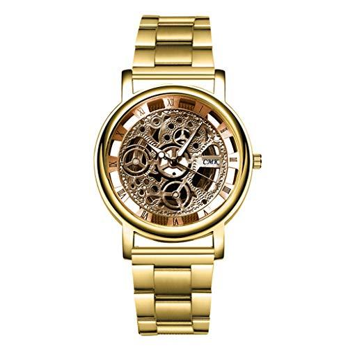 Guartz Watches for Men Digital Under 10 Dollars ❤ Fashion Silver Golden Luxury Hollow Steel Watches Wrist Watch Clock Retro (Clock Dollar)