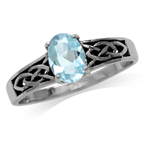 (Genuine Blue Topaz 925 Sterling Silver Celtic Knot Ring Size 5)