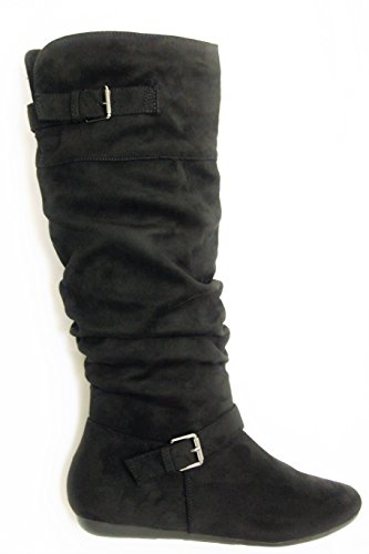 Herstyle Women's Slollie Faux Suede Calf Length Slouchy Buckled up Boots Black (Buckled Slouchy Boots)